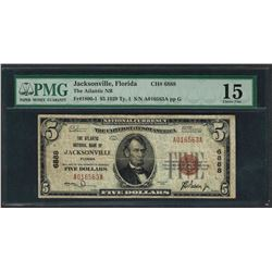 1929 $5 National Currency Note Jacksonville, Florida CH# 6888 PMG Choice Fine 15