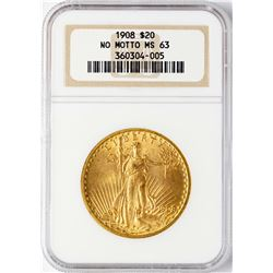 1908 NM $20 St. Gaudens Double Eagle Gold Coin NGC MS63