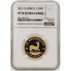 2011 South Africa 1/2 Krugerrand Gold Coin NGC PF70 Ultra Cameo