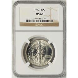 1942 Walking Liberty Half Dollar Coin NGC MS66
