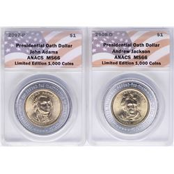 Lot of (2) 2007-2008 Presidential Oath Dollar Coins ANACS MS66