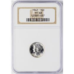 1942 Proof Mercury Dime Coin NGC PF68