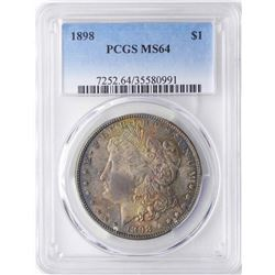 1898 $1 Morgan Silver Dollar Coin PCGS MS64 Amazing Toning