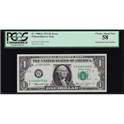 1974 $1 Federal Reserve Note Mismatched Serial Number ERROR PCGS Choice AU58