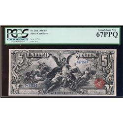 1896 $5 Educational Silver Certificate Note FR.268 PCGS Superb Gem New 67PPQ