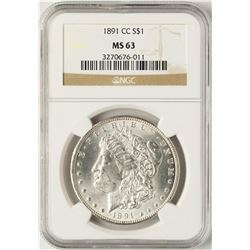 1891-CC $1 Morgan Silver Dollar Coin NGC MS63