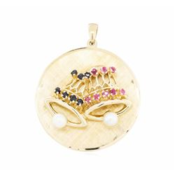 14KT Yellow Gold 0.40 ctw Ruby and Sapphire Disc Pendant