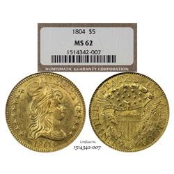 1804 $5 Draped Bust Half Eagle Gold Coin NGC MS62 CAC