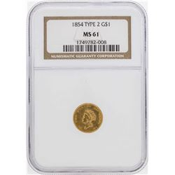 1854 $1 Indian Princess Head Gold Dollar Coin Type 2 NGC MS61