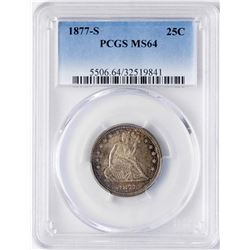 1877-S Seated Liberty Quarter Coin PCGS MS64