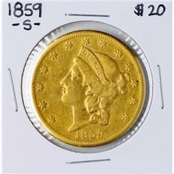 1859-S $20 Liberty Head Double Eagle Gold Coin
