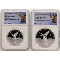 Lot of 2018 Mexico 1 Onza & 1/2 Onza Libertad Proof Coins NGC PF70 Ultra Cameo