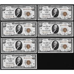 Lot of (7) Consecutive 1929 $10 Federal Reserve Notes St. Louis