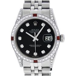 Rolex Mens Stainless Steel Black Diamond Lugs & Ruby Datejust Wristwatch