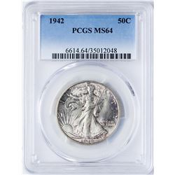 1942 Walking Liberty Half Dollar Coin PCGS MS64