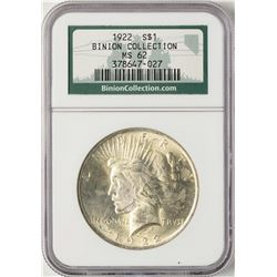 1922 $1 Peace Silver Dollar Coin NGC MS62 Binion Collection