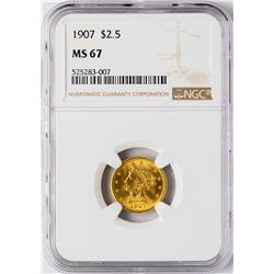 1907 $2 1/2 Liberty Head Quarter Eagle Gold Coin NGC MS67