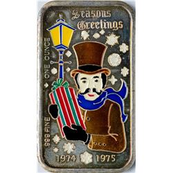 1974-1975 Season's Greetings Enamel Silver Art Bar