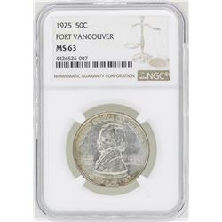 1925 Fort Vancouver Commemorative Half Dollar Coin NGC MS63