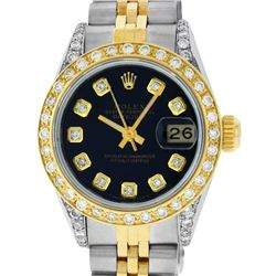 Rolex Ladies Two Tone 14K Black Diamond Lugs Datejust Wristwatch