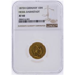 1872H 10M Germany Hesse-Darmstadt Gold Coin NGC XF40