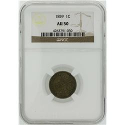 1859 Indian Head Penny Coin NGC AU50
