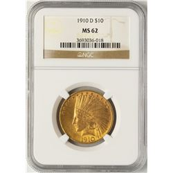 1910-D $10 Indian Head Eagle Gold Coin NGC MS62