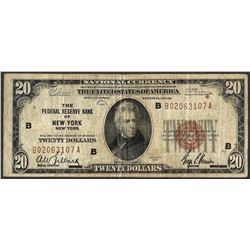 1929 $20 Federal Reserve Note New York