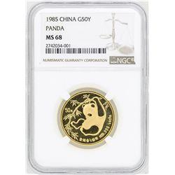 1985 China 50 Yuan Gold Panda Coin NGC MS68