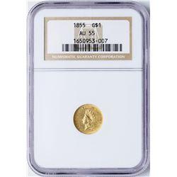 1855 Type 2 $1 Indian Princess Head Gold Dollar Coin NGC AU55