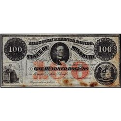 1860's $100 State of Missouri Defence Bonds Obsolete Note
