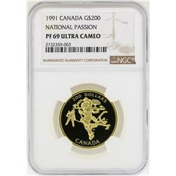 1991 Canada $200 National Passion Gold Coin  NGC PF69 Ultra Cameo