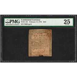 February 17, 1776 $2/3 Continental Currency Note Fr.CC-22 PMG Very Fine 25