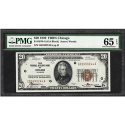 1929 $20 Federal Reserve Bank Note Chicago Fr.1870-G PMG Gem Uncirculated 65EPQ