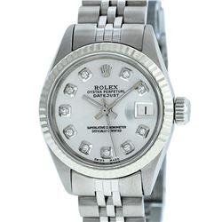 Rolex Ladies Stainless Steel Silver Diamond 26MM Datejust Watch