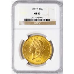 1897-S $20 Liberty Head Double Eagle Gold Coin NGC MS63