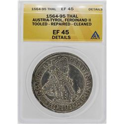 1564-1595 Austria-Tyrol Ferdinand II Thaler Coin ANACS XF45 Details