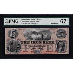 1850-60's $5 The Iron Bank Falls Village, CT Obsolete Note PMG Superb Gem Unc 67