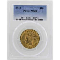 1912 $10 Indian Head Eagle Gold Coin PCGS MS62