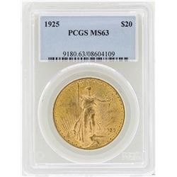 1925 $20 St. Gaudens Double Eagle Gold Coin PCGS MS63