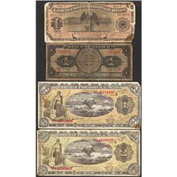 Lot of (4) Misc. Mexico Peso Currency Notes