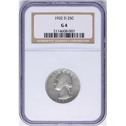 1932-D Washington Quarter Coin NGC G4