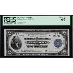 1918 $2 Battleship $2 Federal Reserve Bank Note Chicago Fr.765 PCGS Choice New 6