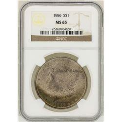 1886 $1 Morgan Silver Dollar Coin NGC MS65 Nice Toning