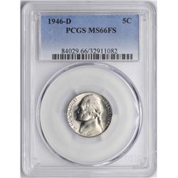 1946-D Jefferson Nickel Coin PCGS MS66FS