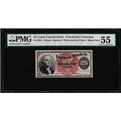 March 3, 1863 25 Cents 4th Issue Fractional Currency Note PMG About Uncirculated
