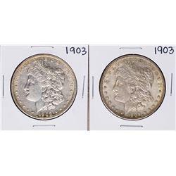 Lot of (2) 1903 $1 Morgan Silver Dollar Coins