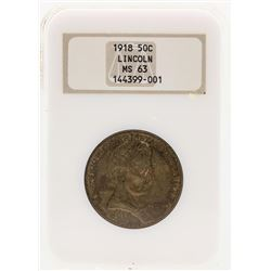 1918 Lincoln Commemorative Half Dollar Coin NGC MS63