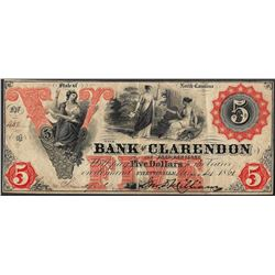 1862 $5 Bank of Clarendon Obsolete Note