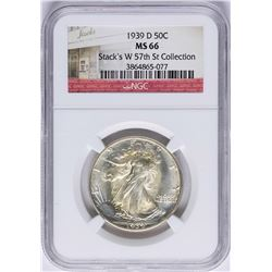 1939-D Walking Half Dollar Coin NGC MS66